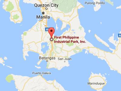 フィリピン、バタンガスにあるファーストフィリピンインダストリアルパークの地図