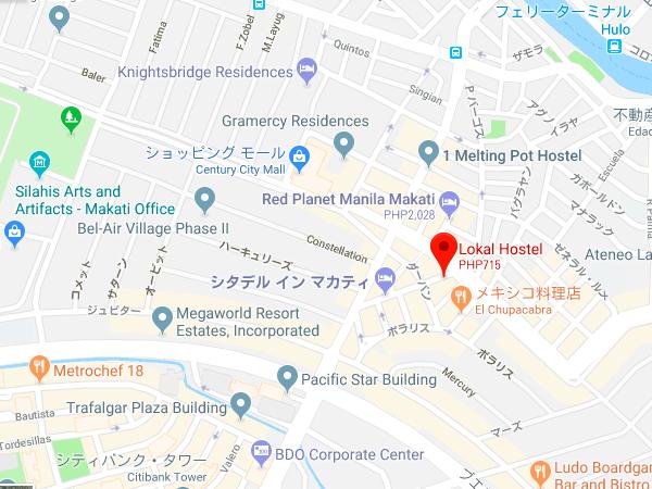 ローカルホステルの地図