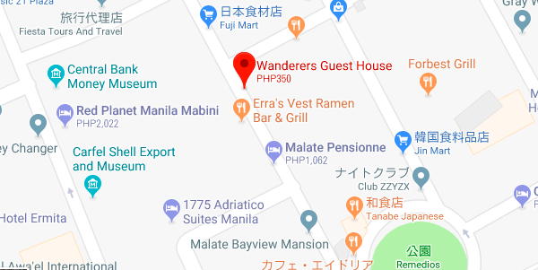 ワンダラーズゲストハウスの地図