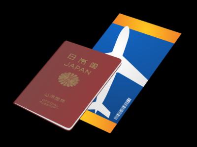 日本のパスポートと航空券