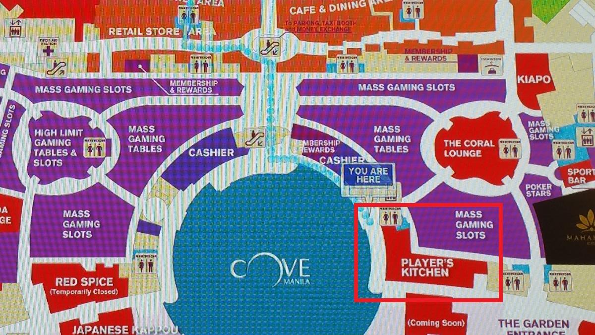 オカダマニラのプレイヤーズキッチン地図