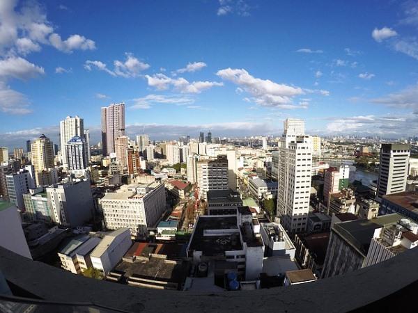 フィリピンの都市部を空撮