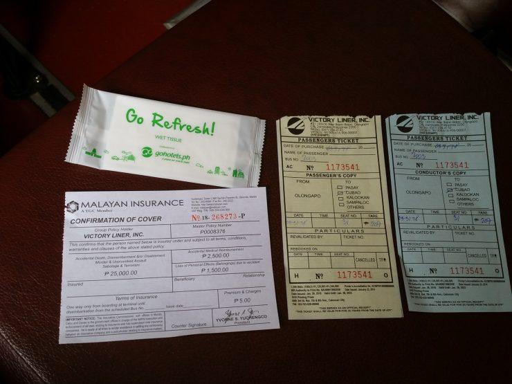 乗車券と領収書とおしぼり