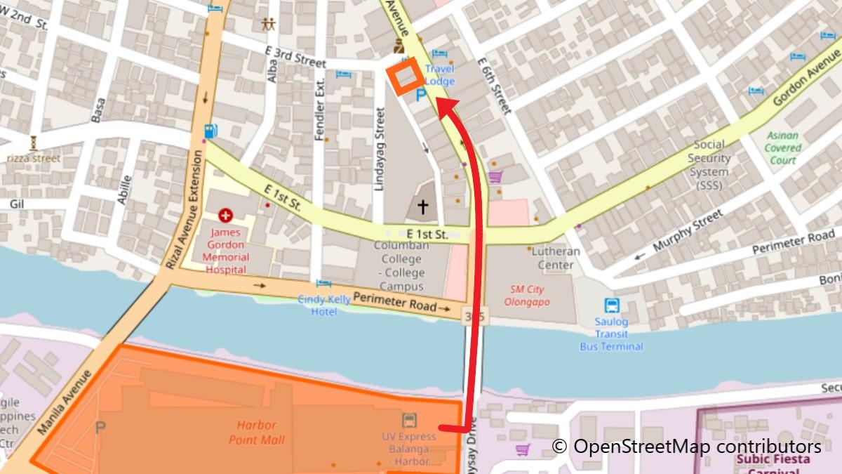 ハーバー・ポイントからホテルへの地図