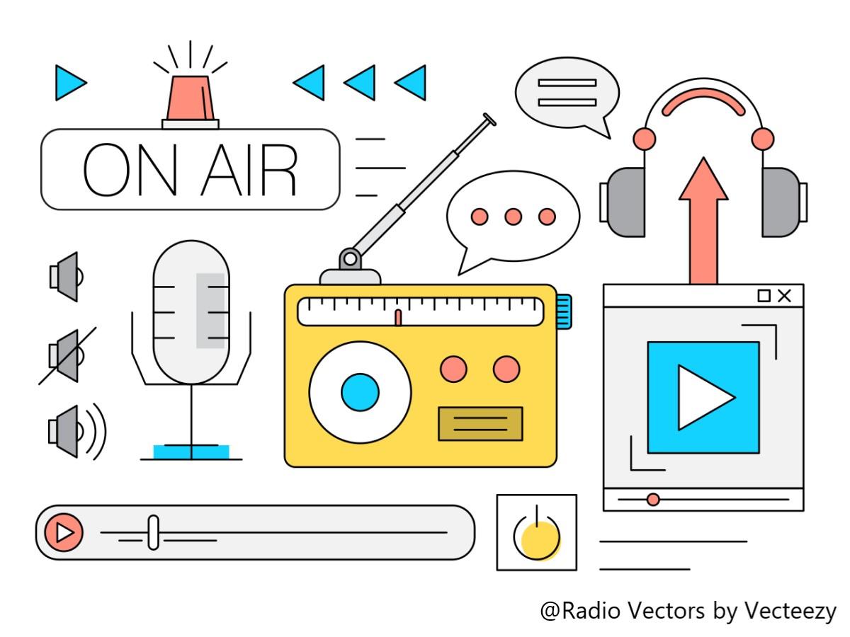 ラジオやマイク、ヘッドホン