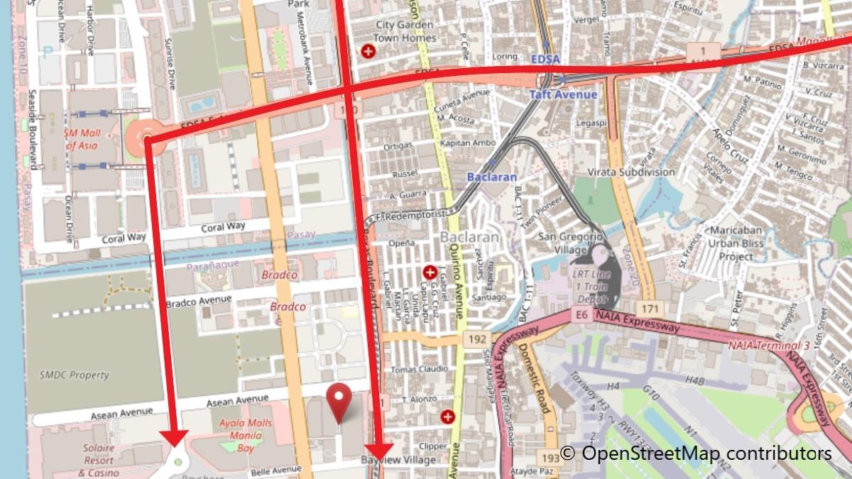 シティオブドリームスマニラへの地図