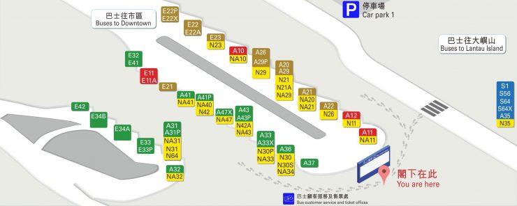 香港空港バス乗り場地図