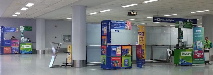 マニラ空港ターミナル3荷物受取エリアのSIMカード売場