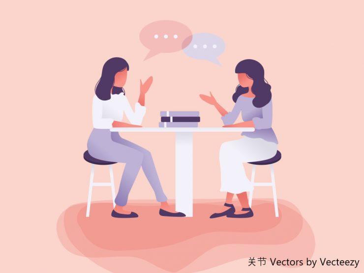 おしゃべりする女性