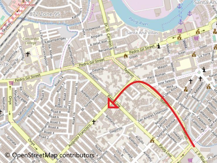 ペドロヒル通りの地図