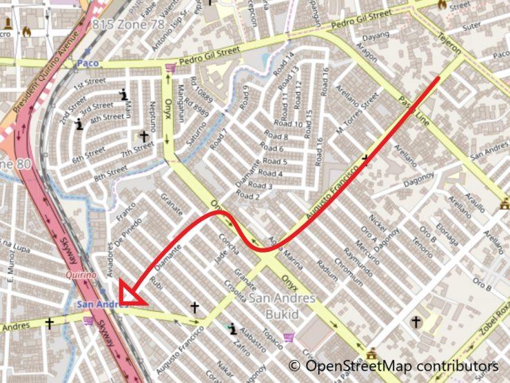 アグスト・フランシスコ通りの地図
