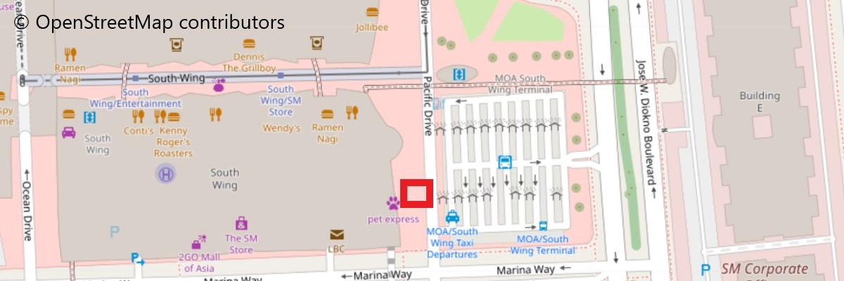 オカダマニラ行きのシャトルバス乗り場地図