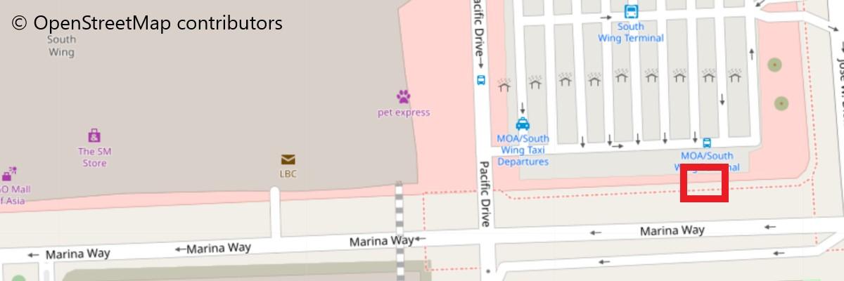 ソレアカジノリゾートへのシャトルバス乗り場地図