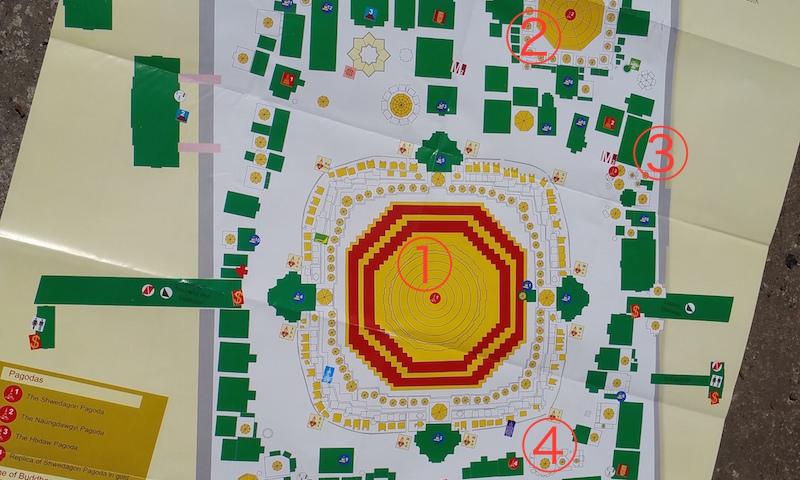 シュエダゴンパゴダの4仏塔地図