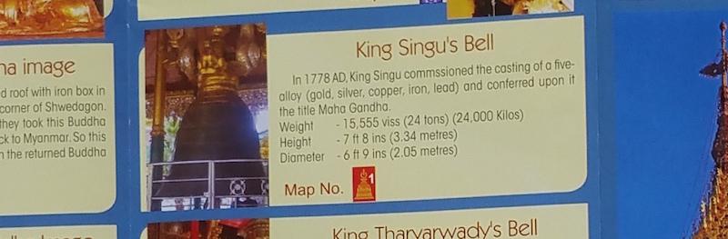 シングー王の梵鐘の説明文