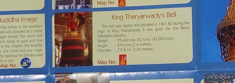 サルヤルワディ王の梵鐘の説明文