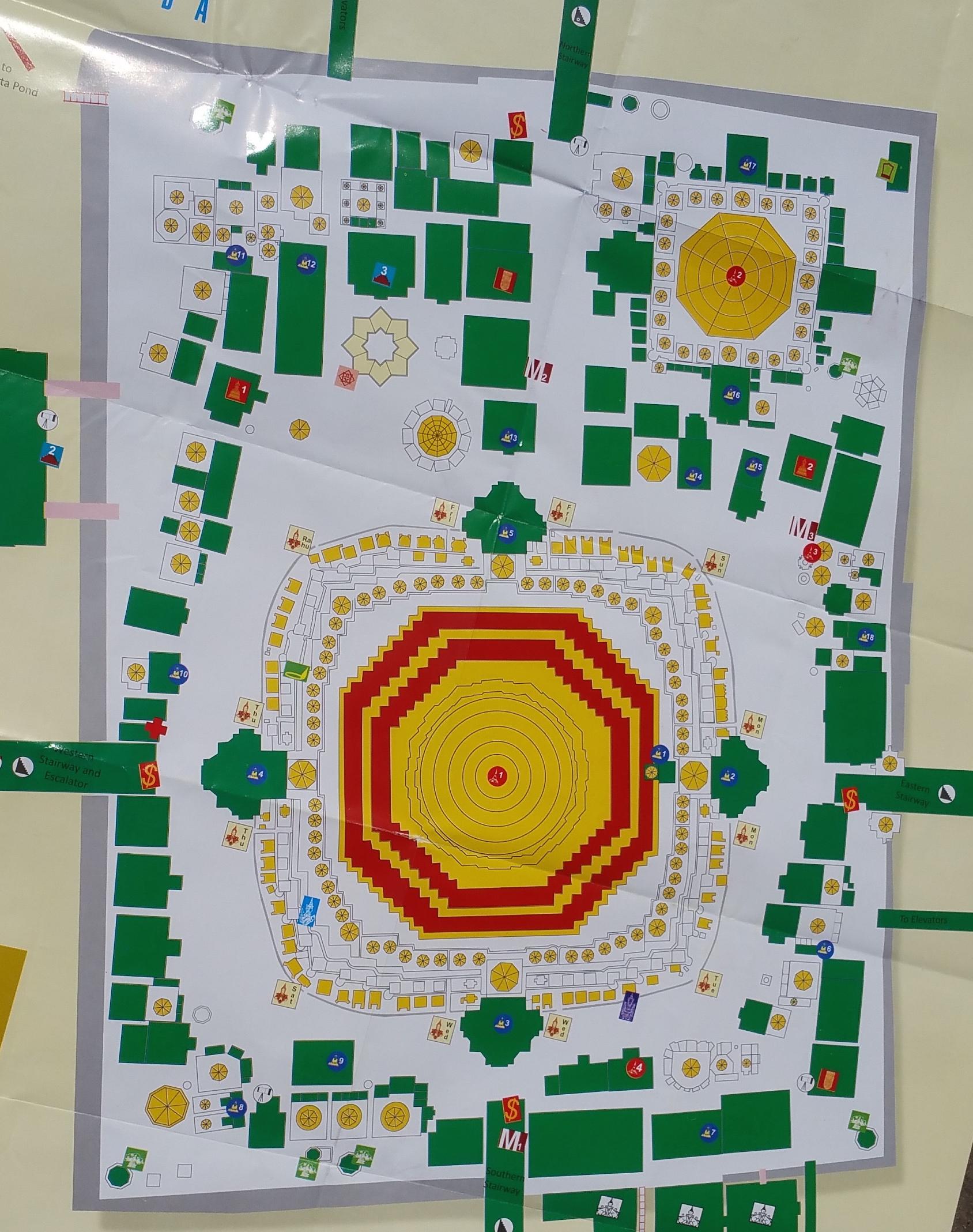 シュエダゴンパゴダ18のブッダ像の地図