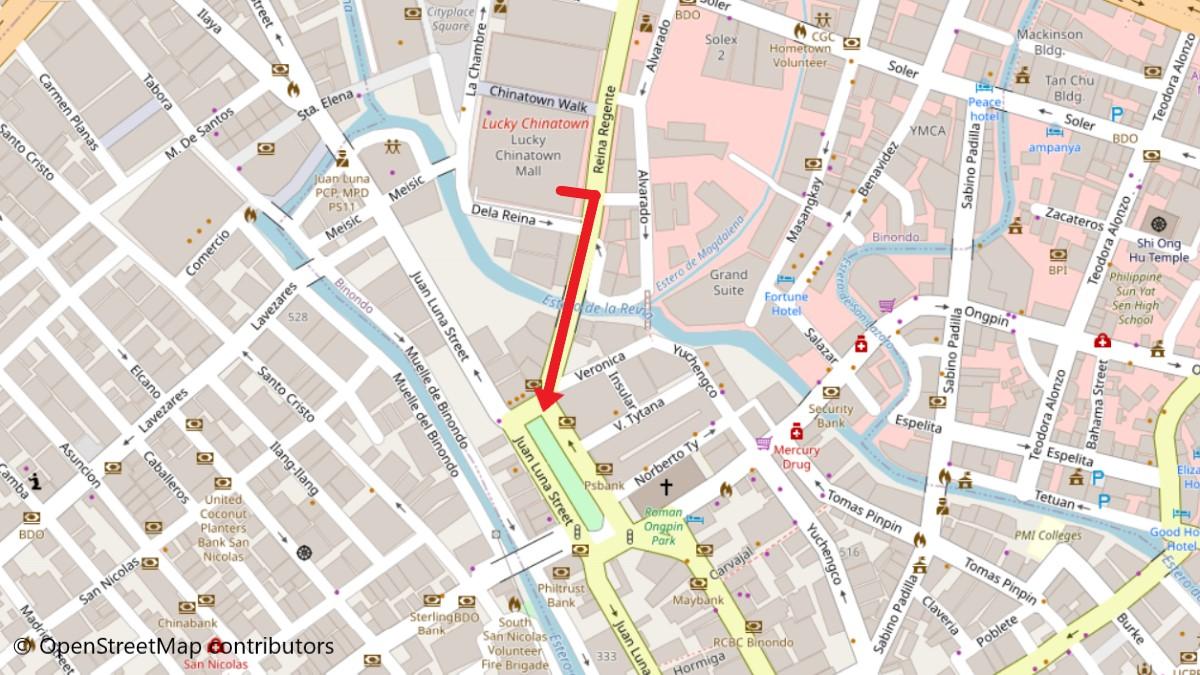 ラッキーチャイナタウンモールからビノンドへの地図