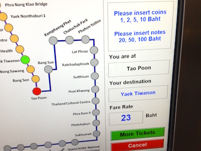 Route map of ticket vending machines