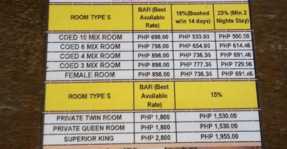 ジャンクションホステルの料金表