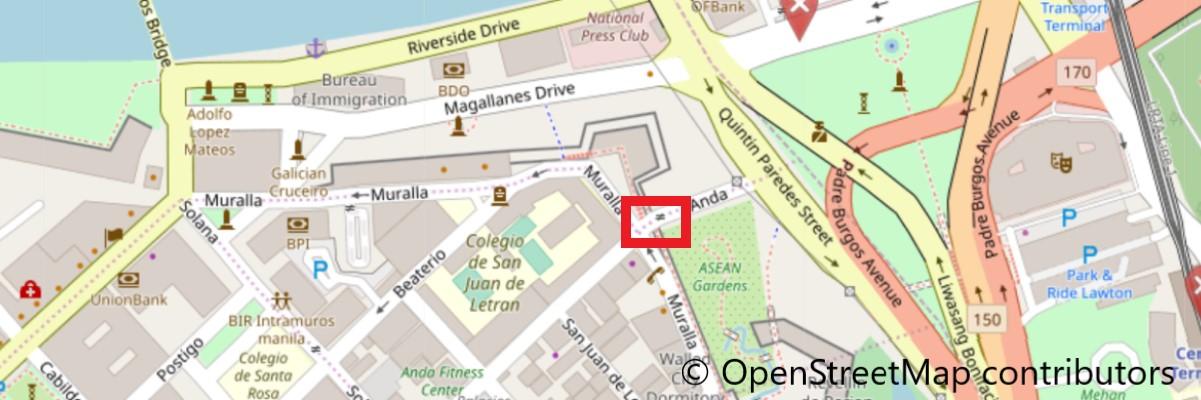 イントラムロス入り口の地図