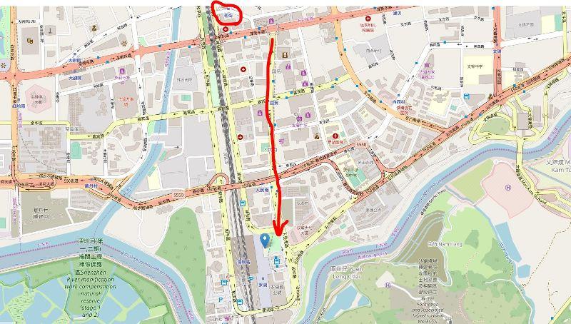 人民南路から羅湖商業城・羅湖駅への地図