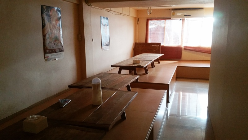 The tatami room on the mezzanine floor of the Suica Guesthouse