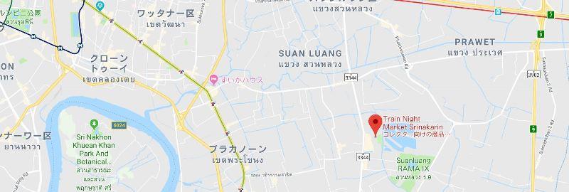 鉄道市場「タラート・ロッファイ・シーナカリン」の地図