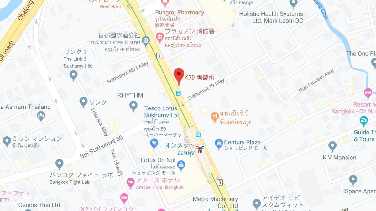オンヌット駅近くの両替所地図