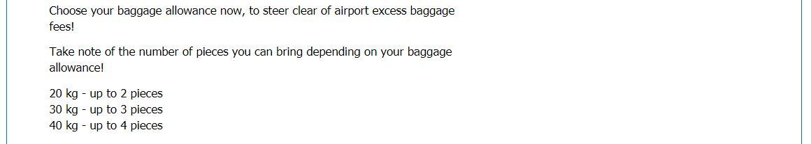 セブパシフィック手荷物容量