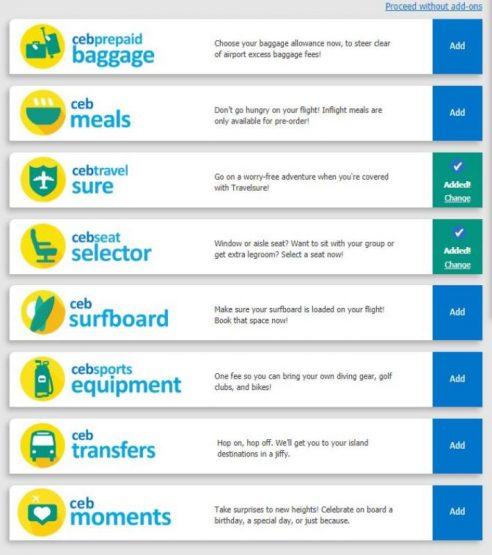 セブパシフィック航空券オプション選択
