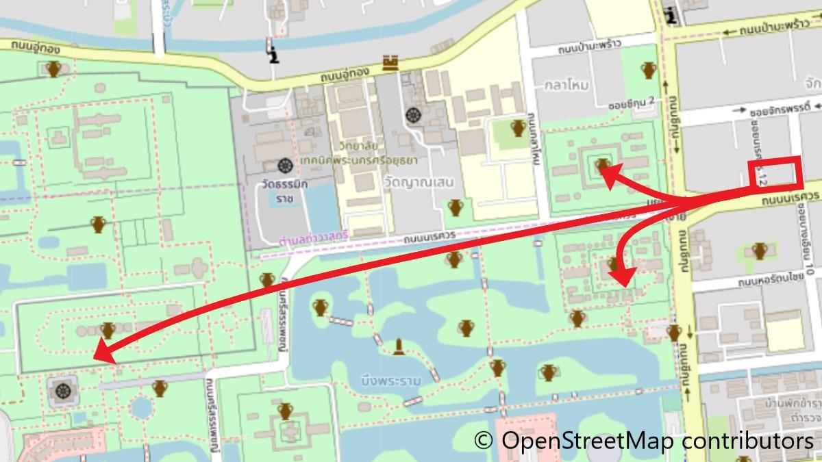 グランドパレンツホームから6大寺院への地図