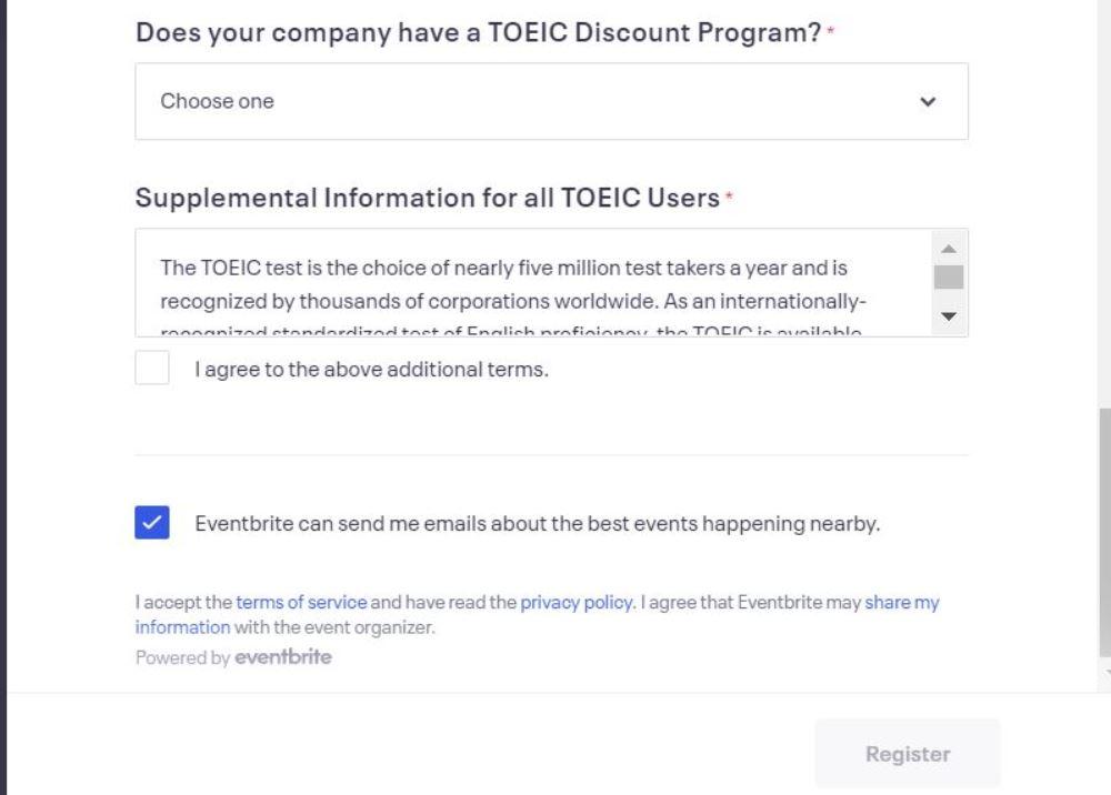 TOEIC規約に同意する画面