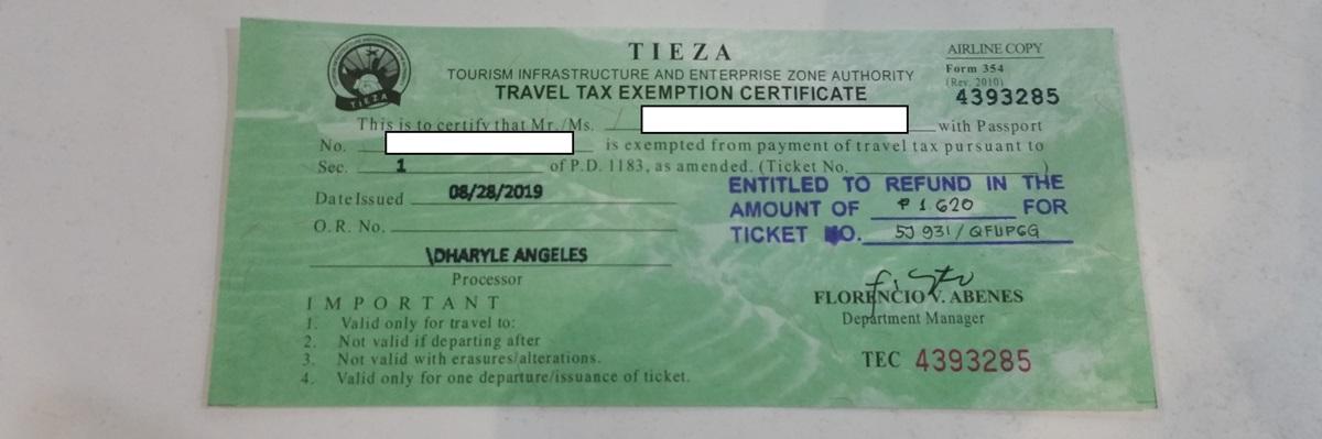 旅行税免除の証明書