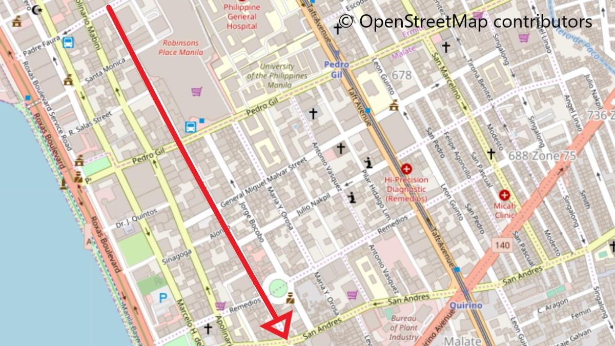 アドレアティコ通り全体地図