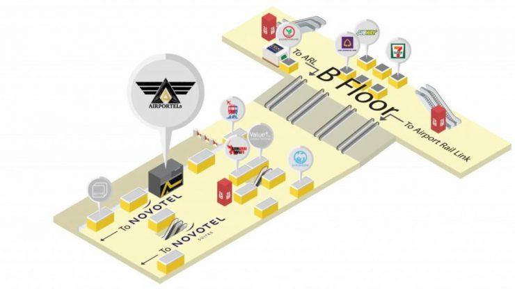 スワンナプーム空港のエアポーテルズ地図