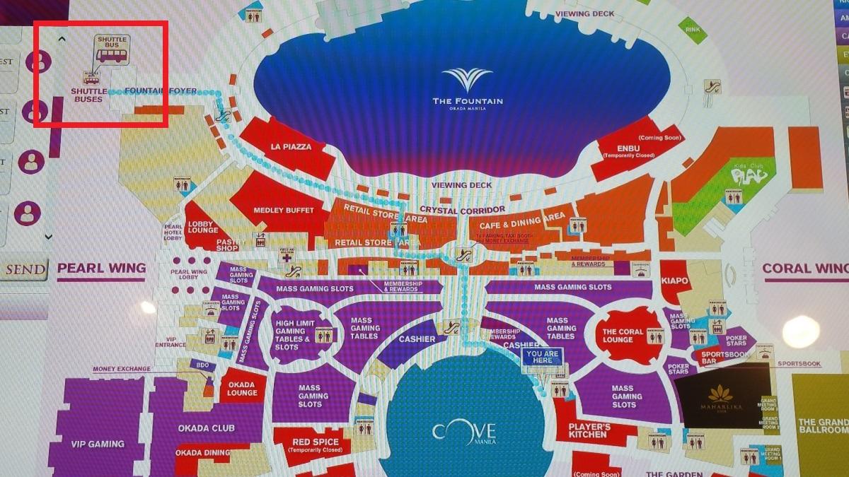 オカダマニラシャトルバス乗り場地図