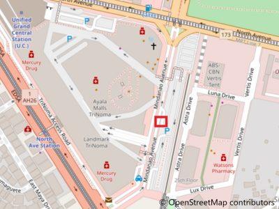 アヤラモール側のP2Pバス乗り場地図