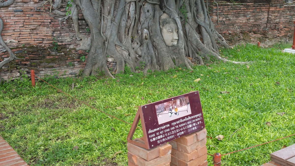Note in front of the Buddha's head