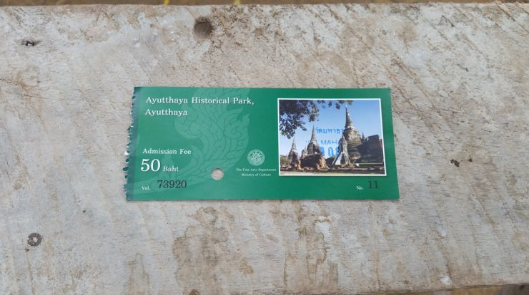 Entrance ticket to Wat Mahathat