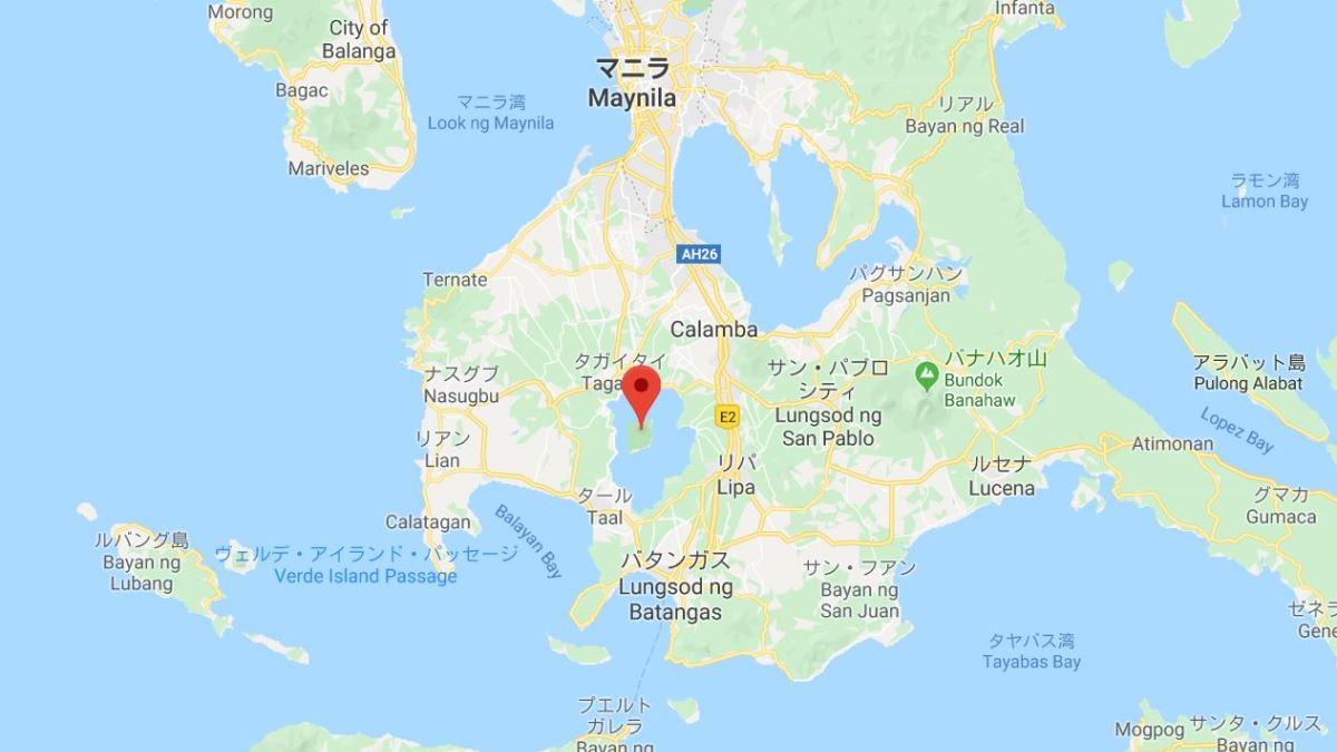 タール火山の地図