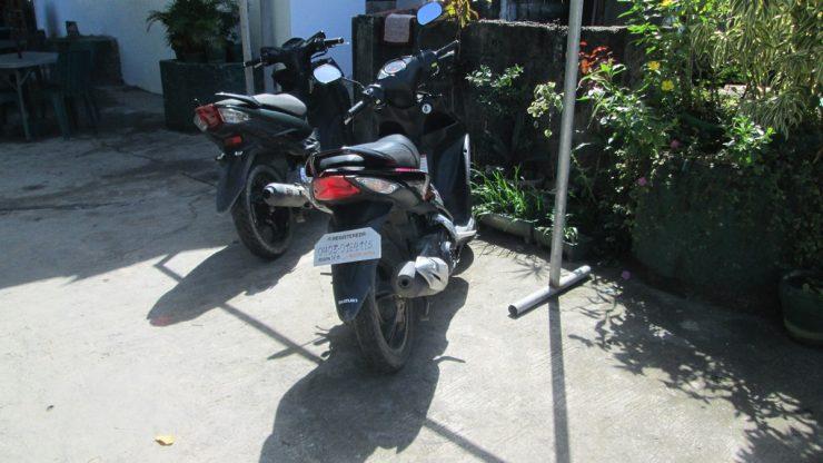 駐輪場に停めたバイク