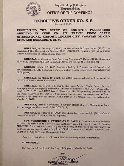 フィリピン共和国セブ州知事局  行政命令第5-E