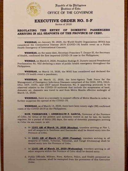 フィリピン共和国セブ州知事局  行政命令第5-F