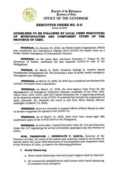 フィリピン共和国セブ州知事局  行政命令第5-G