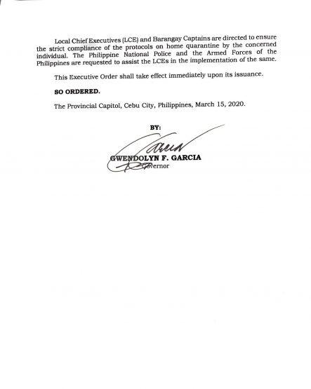フィリピン共和国セブ州知事局  行政命令第5-I