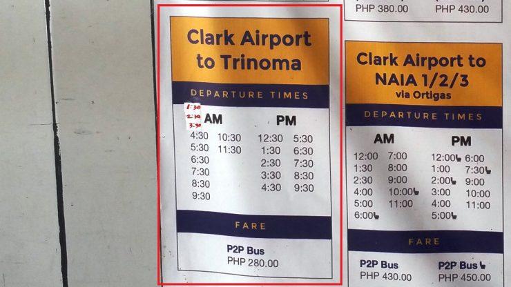 マニラ行きP2Pバスの時刻表