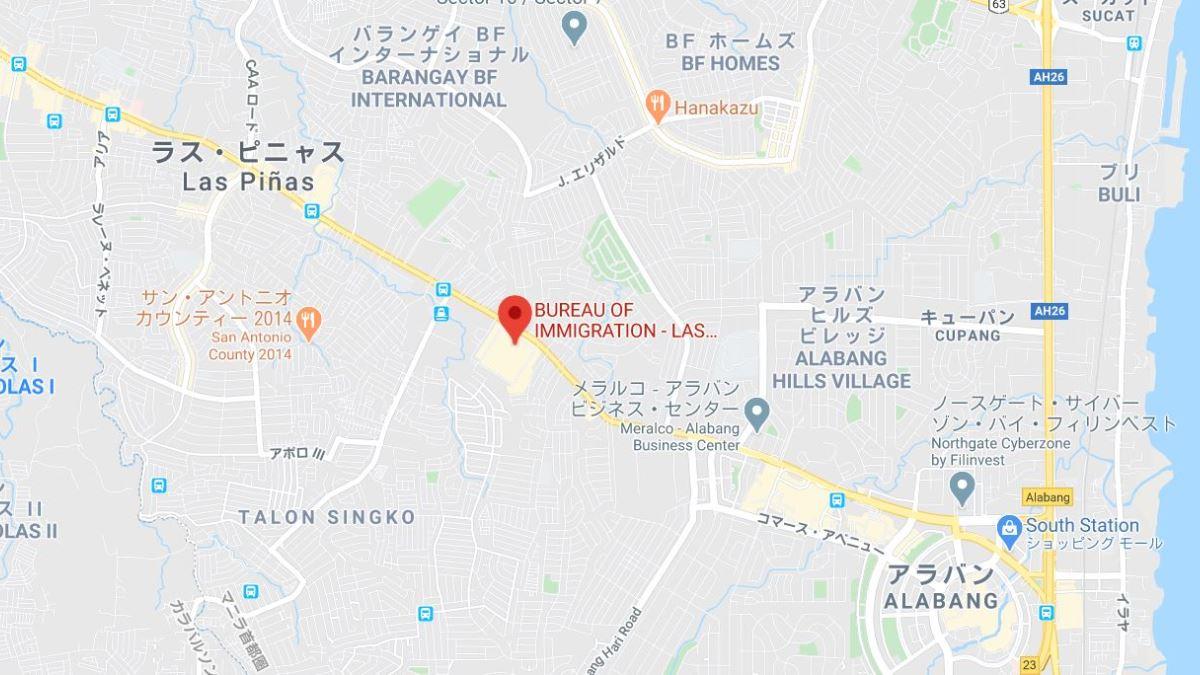 ラスピニャス移民局フィールドオフィスの地図