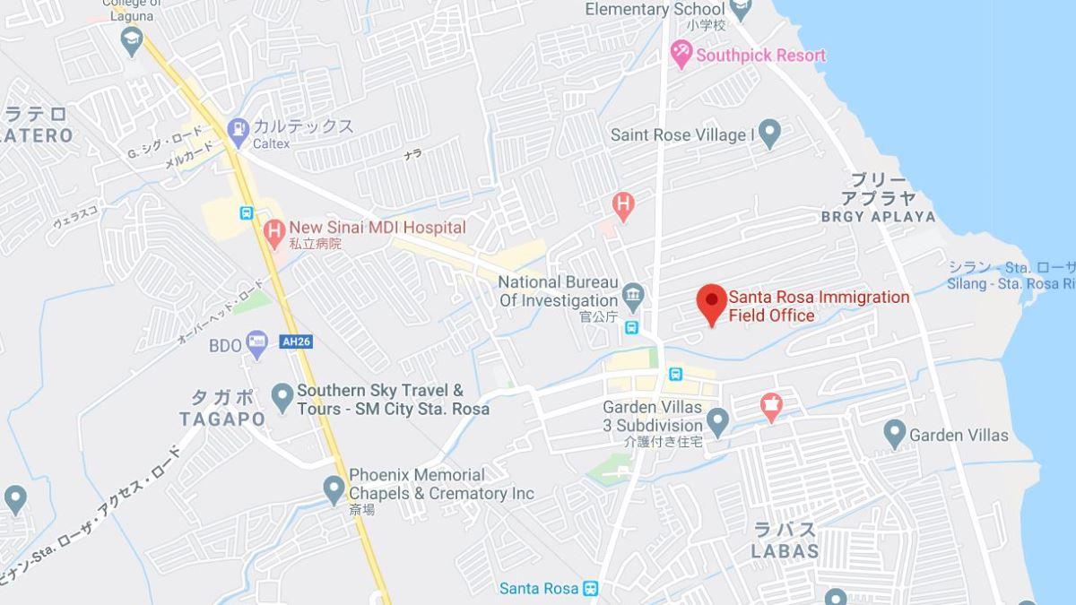 サンタローサ移民局フィールドオフィスの地図