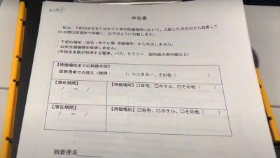 羽田空港の機内で配布される申告書
